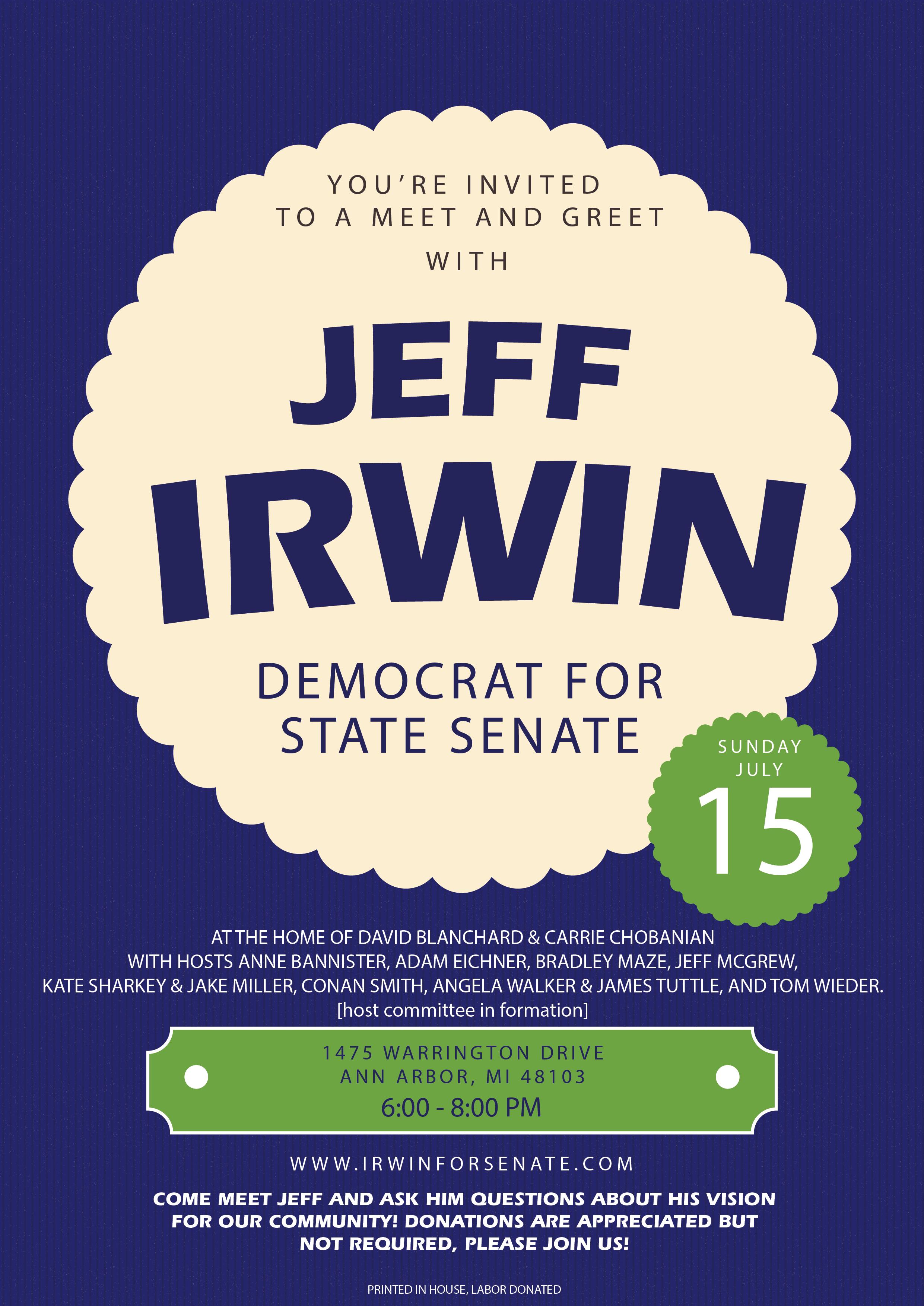 Meet And Greet Jeff Irwin Democrat For State Senate Washtenaw