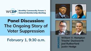 WCDP Community Forum: Voter Suppression 2020– Old Idea, New Tactics