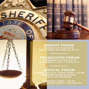 League of Women Voters, Bar Association Forum: County Prosecutor Candidates