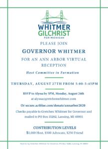 Ann Arbor Virtual Fundraiser with Gov. Gretchen Whitmer